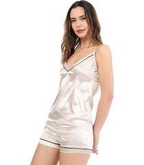 conjunto blusa tiras y short pijama satín color beige womanpotsherd ref: satin colors