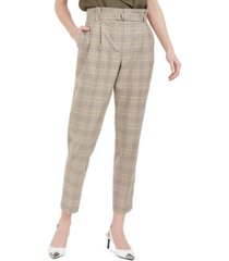 calvin klein plaid paperbag-waist pants