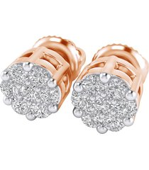 0.25 cttw round cut diamond screw back stud cluster earrings 14k solid rose gold