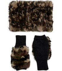 camo rabbit fur collar & knit fingerless gloves