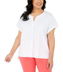 alfani plus size split-neck short-sleeve top, created for macy's