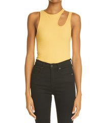 k.ngsley unisex romain cutout ribbed tank, size medium in ocre at nordstrom