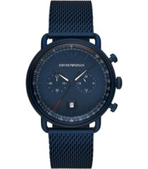 emporio armani men's chronograph blue stainless steel mesh bracelet watch 43mm