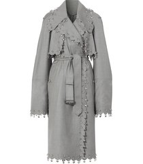 burberry crystal ring-pierced reconstructed trench coat - grey