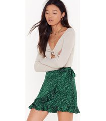 womens you spot this satin wrap mini skirt - emerald