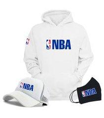 moletom canguru e boné branco liga de basquete nba com máscara