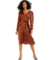 bar iii animal-print puff-sleeve midi dress, created for macy's