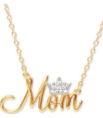 """disney cubic zirconia mom tiara 18"""" pendant necklace in 18k gold-plate over silver"""