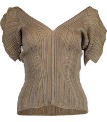 bronze short sleeve v-neck top