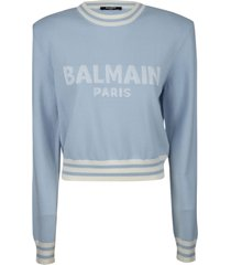 balmain stripe trimmed logo sweater