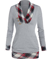 checked panel button tunic t shirt