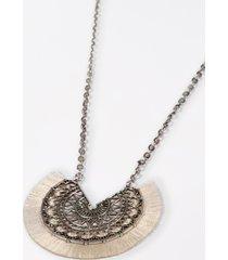 maurices womens ivory fringe fan pendant necklace beige