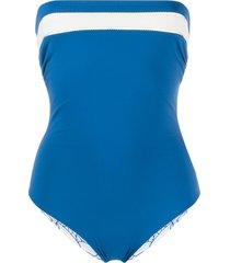 marysia strapless stripe swimsuit - blue