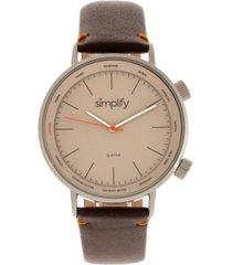simplify quartz the 3300 grey case, genuine dark brown leather watch 43mm
