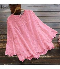 zanzea mujeres de manga larga ahueca hacia fuera el ganchillo tapas de la camisa de la blusa de cuello redondo asim más el tamaño -rosado