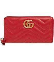 women's gucci gg 2.0 matelasse leather zip around wallet - red
