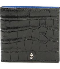 alexander mcqueen croc-print wallet with skull