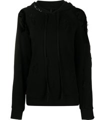 unravel project ripped detail long drawstring hoodie - black