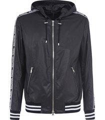 balmain logo sleeve zipped hoodie