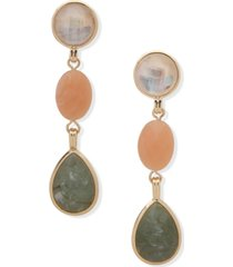 anne klein gold-tone crystal, stone & mother-of-pearl clip-on linear drop earrings