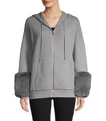 faux fur-cuff hoodie