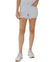indigo rein juniors' striped high-rise distressed frayed-hem shorts