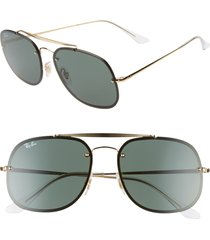 men's ray-ban 58mm square aviator sunglasses - gold