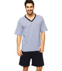 pijama lupo listrado branco/azul-marinho