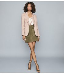 reiss lana - textured tailored blazer in pale pink, womens, size 12