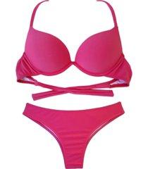 biquíni bojo bolha alça estreita divance pink escuro calcinha tradicional