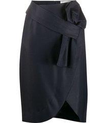 victoria victoria beckham asymmetric front bow skirt - blue