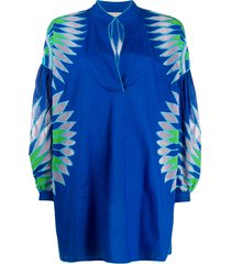 emilio pucci geometric embroidered kaftan top - blue
