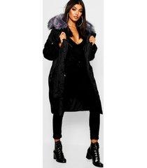 oversized luxe parka met faux fur kraag, rits en capuchon, zwart