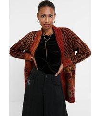 boho knit jacket - red - xl