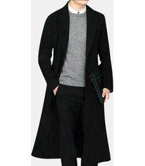 giacca lunga da uomo in lana sottile vestibilità comoda giacca monopetto vestita casual da trench