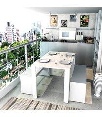 conjunto mesa jantar 2 bancos branco lilies mã³veis - branco - dafiti