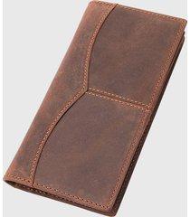billetera cuero porta documentos marrón millam