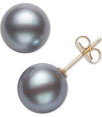 belle de mer cultured freshwater pearl stud 14k yellow gold earrings (8mm)