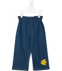 mini rodini fish-embroidered paperbag trousers - blue