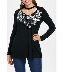 color block lace applique t-shirt