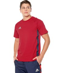 camiseta rojo-azul adidas performance tan tape tee scarle