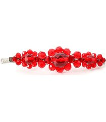 large flower hair clip in red