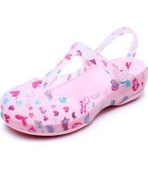 sandalias antideslizantes estampadas para mujer-rosa