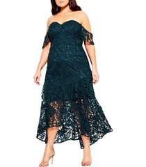 plus size women's city chic lace off the shoulder high/low cocktail dress, size x-small - green