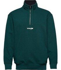 half zip sweat sweat-shirt trui groen wrangler