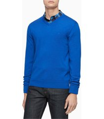 suéter merino cuello v azul calvin klein