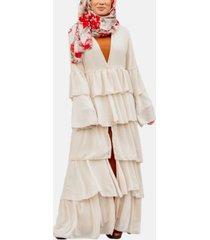 urban modesty women's cascading ruffle maxi cardigan
