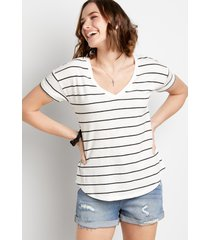 maurices womens 24/7 black & white striped tee
