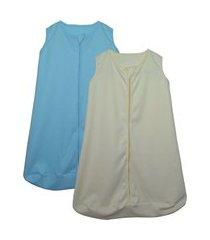 kit 2 saco de dormir bebê amarelo e azul enxoval pijama algodão