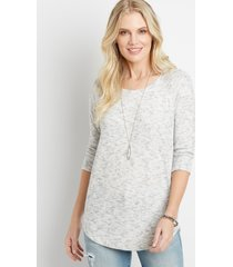 maurices womens spacedye round hem pullover gray